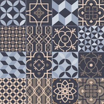 Kolekcja kwadratowych płytek ceramicznych z różnymi geometrycznymi i tradycyjnymi wzorami orientalnymi