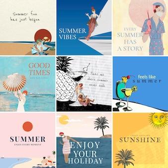 Kolekcja kwadratowych postów na instagramie z motywem letnim