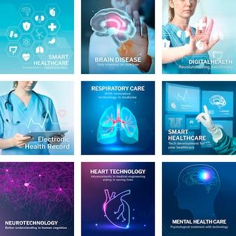 Kolekcja kwadratowych postów na instagramie z motywem zdrowia