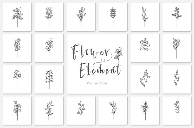 Kolekcja kwiat element ilustracja przebiegłość, roślina, kwiatowy, doodle, wyciągnąć rękę., roślina, kwiatowy, doodle, wyciągnąć rękę.