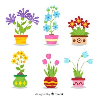 Kolekcja kwiat wiosna płaski