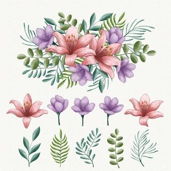 Kolekcja kwiatów akwarela