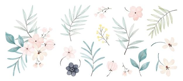 Kolekcja kwiatów akwarelowych
