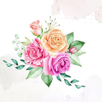 Kolekcja kwiatów bukiet rama akwarela