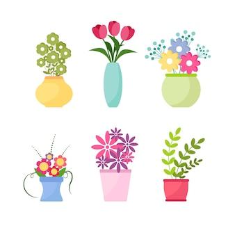 Kolekcja kwiatów dzikich i ogrodowych w wazonach i butelkach na białym tle. pakiet bukietów. zestaw elementów dekoracyjnych kwiatowy wzór. ilustracja wektorowa