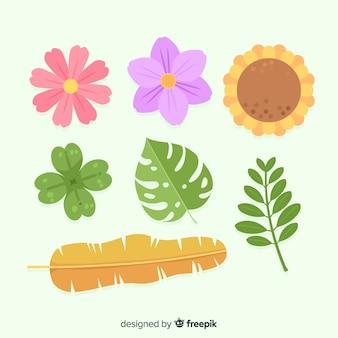 Kolekcja kwiatów i liści