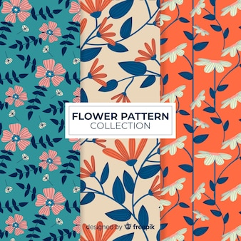 Kolekcja kwiatów płaski wzór