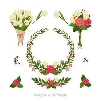 Kolekcja kwiatów walentynkowych
