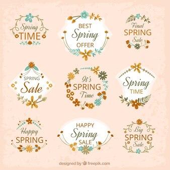 Kolekcja kwiatów wiosną sprzedaży naklejki