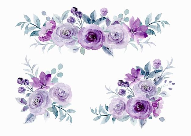 Kolekcja kwiatów z fioletową różą z akwarelą