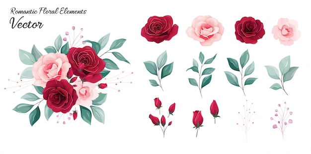Kolekcja kwiatowa. ilustracja ozdoba kwiaty czerwone i brzoskwiniowe kwiaty róży, liście, gałęzie