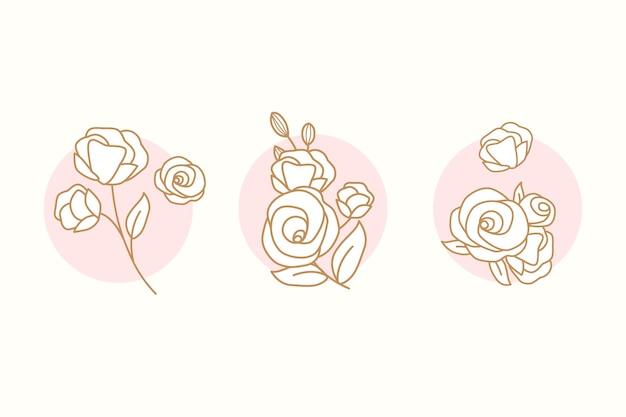 Kolekcja kwiatowy doodle