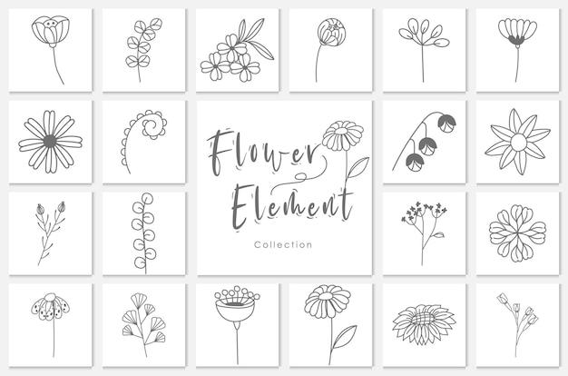Kolekcja kwiatowy element lineart ilustracja