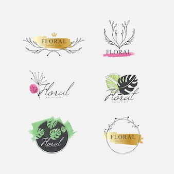 Kolekcja kwiatowy logo akwarela