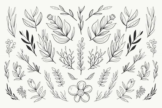 Kolekcja kwiatowy ornament ślubny
