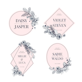 Kolekcja kwiatowy wesele zaprosić