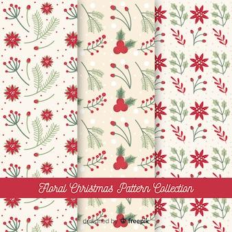 Kolekcja kwiatowy wzór boże narodzenie