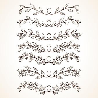 Kolekcja kwiatowy z ręcznie rysowanym stylem elementy kwiatowe