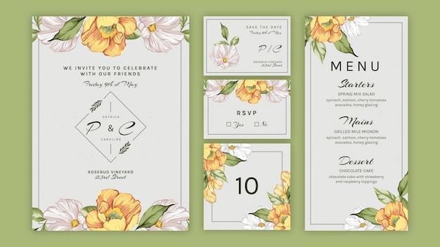 Kolekcja kwiatowy zestaw na ślub
