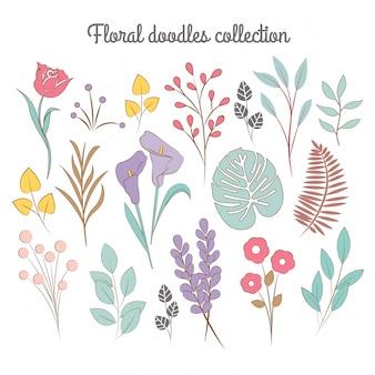 Kolekcja kwiatowych doodles