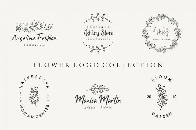 Kolekcja kwiatowych logo w minimalistycznym stylu