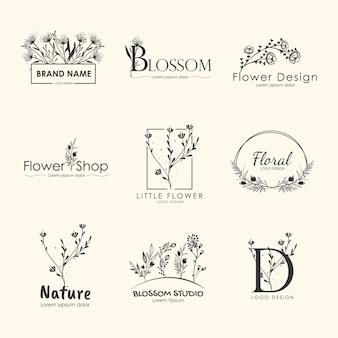 Kolekcja kwiatowych marek i wzorów logo.