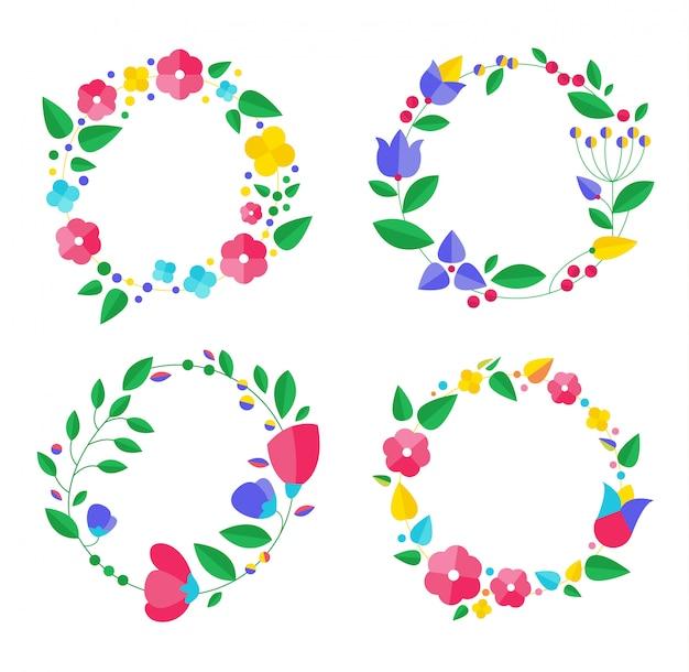 Kolekcja kwiatowych ramek. zestaw ślicznych kwiatów retro ułożone