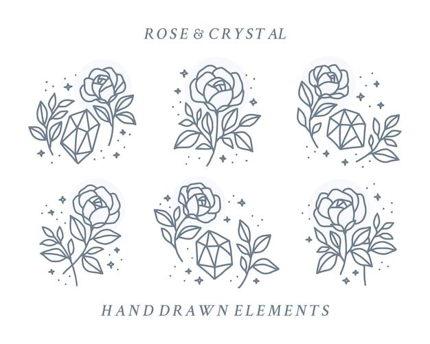 Kolekcja kwiatu róży i elementów logo w stylu vintage kryształ