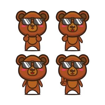 Kolekcja ładny letni niedźwiedź ustawia wektor ilustracja płaski styl kreskówka maskotka