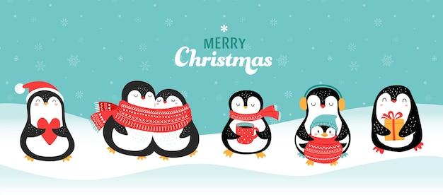 Kolekcja ładny ręcznie rysowane pingwiny, życzenia wesołych świąt. ilustracji wektorowych