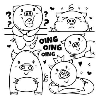 Kolekcja ładny świnia doodle charakter ilustracja