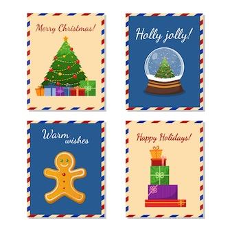 Kolekcja ładny wesołych świąt i szczęśliwego nowego roku kartki z życzeniami. choinka, prezenty, pierniki, piłka ze śniegiem. płaska ilustracja wektorowa