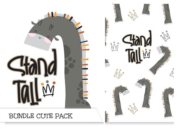 Kolekcja ładny wzór płaski żyrafa kreskówka zestaw