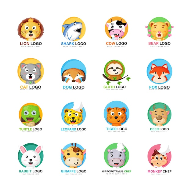 Kolekcja ładnych zestawów logo zwierząt
