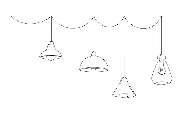 Kolekcja lamp loftowych i abażury w jednej linii. nowoczesny żyrandol wiszący