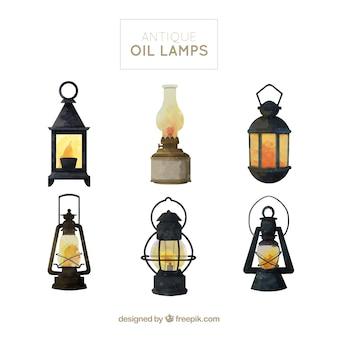 Kolekcja lamp naftowych akwarela