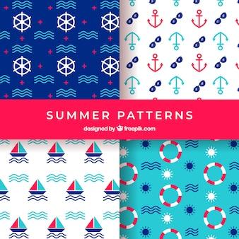 Kolekcja lato wzory z elementami plaży