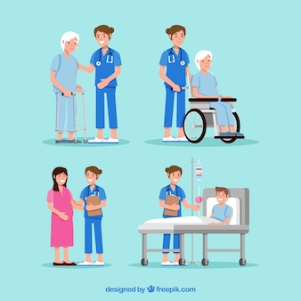 Kolekcja lekarzy z pacjentami