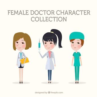 Kolekcja lekarzy żeński z szczepionką i schowka