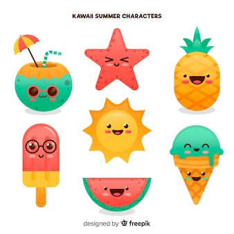Kolekcja letnich elementów kawaii