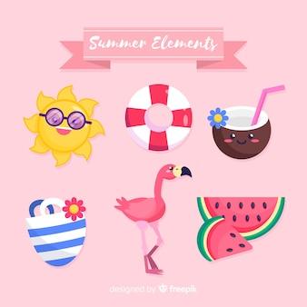 Kolekcja letnich elementów w stylu kawaii