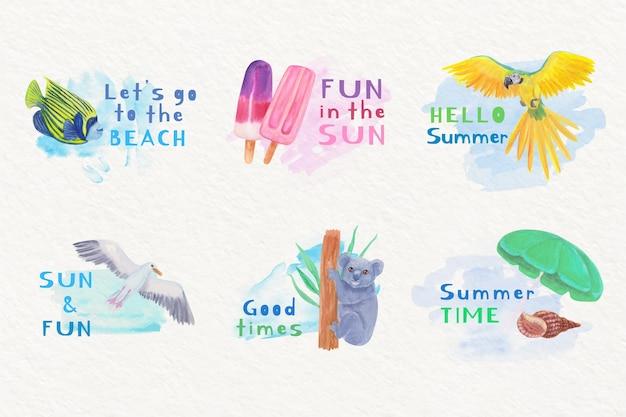 Kolekcja letnich odznak akwarela