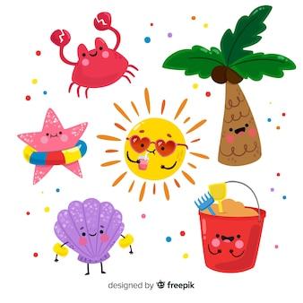 Kolekcja letnich płaskich elementów kawaii
