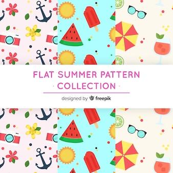 Kolekcja letnich wzorów płaskich