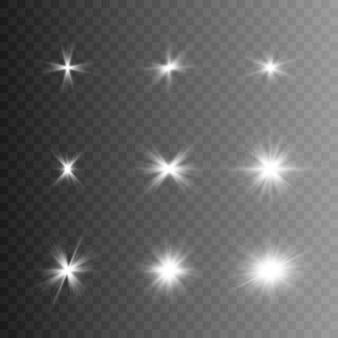 Kolekcja light. wiązki światła, błysk, światło słoneczne, jasny błysk.