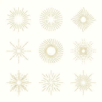 Kolekcja Linear Flat Sunburst Darmowych Wektorów