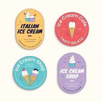 Kolekcja liniowych płaskich etykiet do lodów