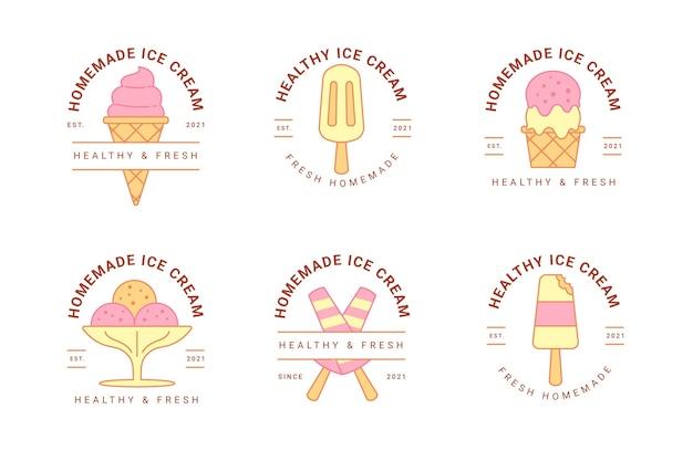 Kolekcja liniowych płaskich etykiet lodów