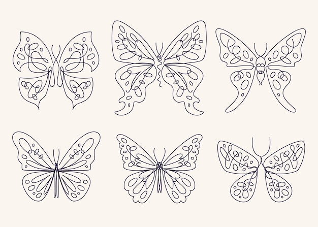 Kolekcja liniowych płaskich konturów motyli