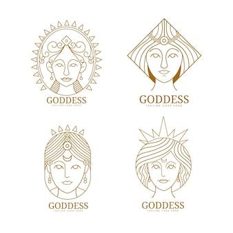 Kolekcja liniowych płaskich logo bogini